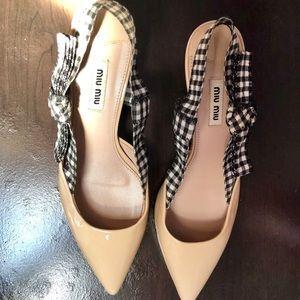 MIU MIU Pointed Toe Kitten Heel Shoes Cipria